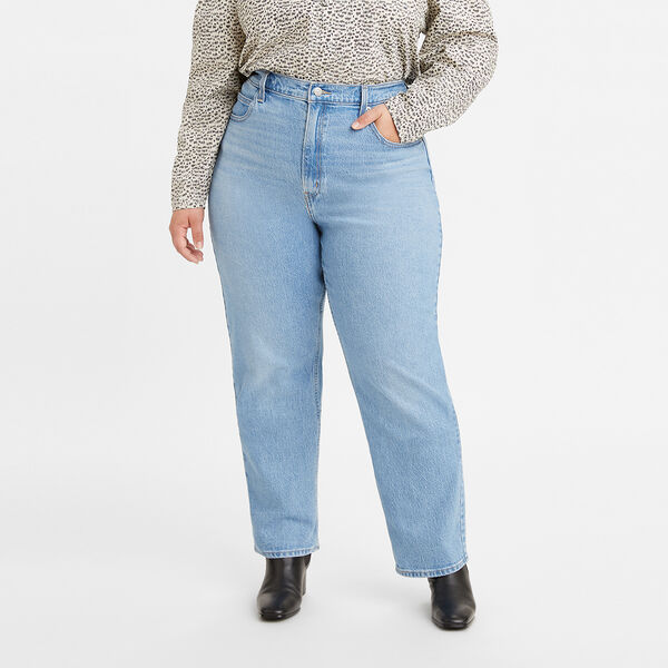 70s High Slim Straight Jeans (Plus Size)