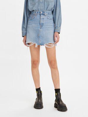 High-Waisted Deconstructed Denim Skirt