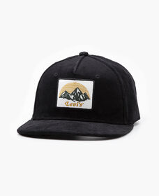 Corduroy Logo Patch Flat Brim Hat