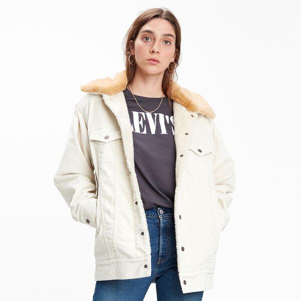 Oversized Corduroy Fur Trucker Jacket