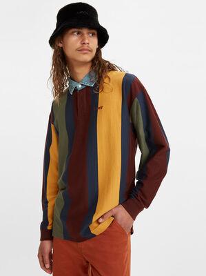 Chambray Collar Long Sleeve Polo Shirt