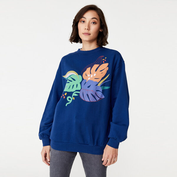 Melrose Graphic Slouchy Crewneck Sweatshirt