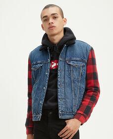 Flannel Hybrid Sherpa Trucker Jacket