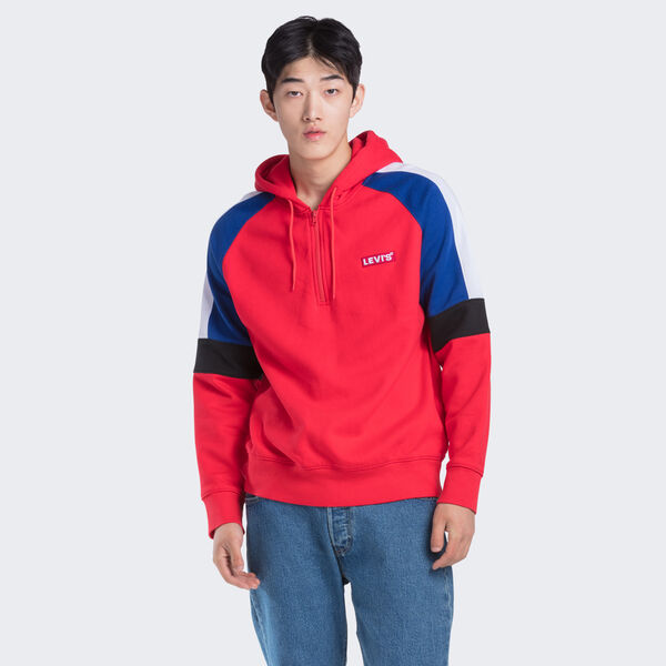 Relaxed Pieced 1/4 Zip Hoodie