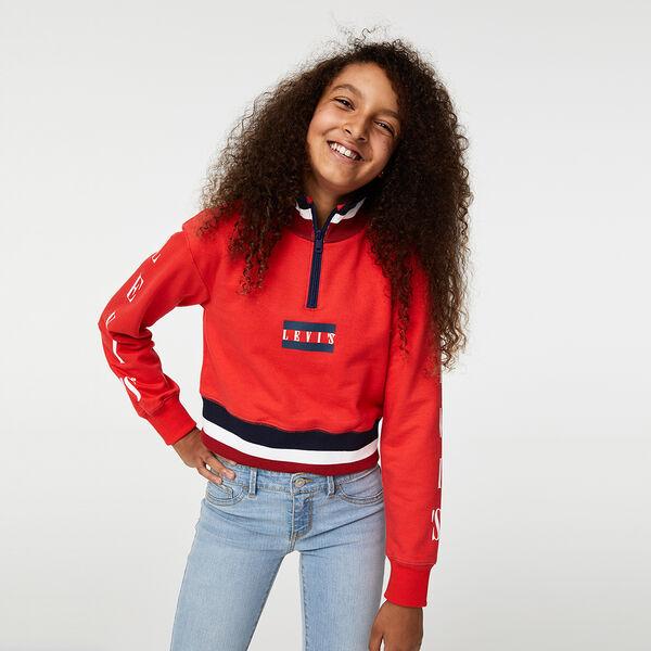 Big Girls (S-XL) Cropped Quarter-Zip Sweatshirt