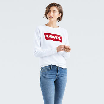 b1106243 Relaxed Graphic Crewneck Sweatshirt - Batwing White
